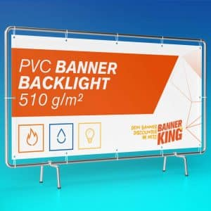 Beispiel eines Backlight Banners auf einen Rahmen befestigt