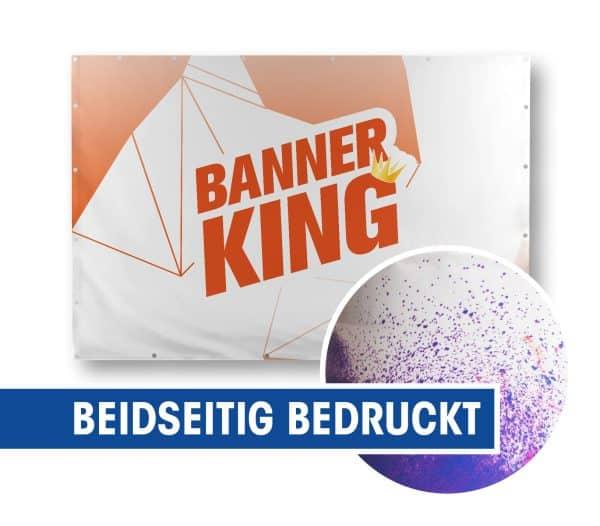 Beispiel eines Blockout 440g Banners auf einen Rahmen befestigt