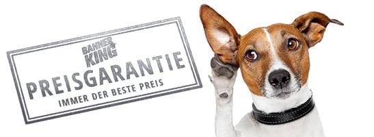 Lustiger Hund freut sich ueber die Banner-King.de Preisgarantie