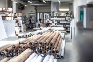 Unser Materiallager für Banner