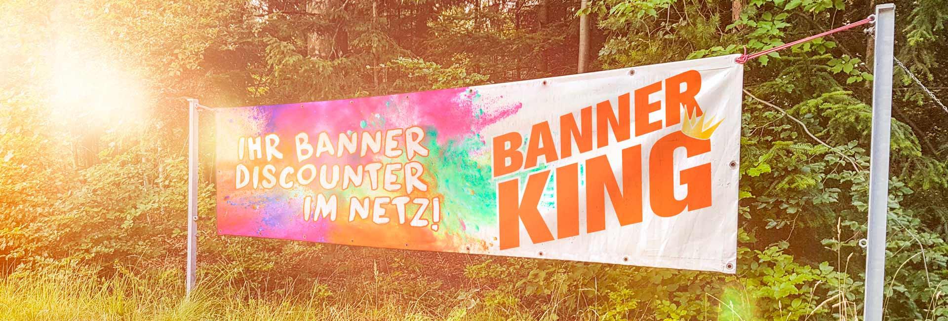 Von Banner-King bedruckter Werbebanner