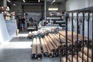 PVC Materiallager für den Bauzaunbanner Druck