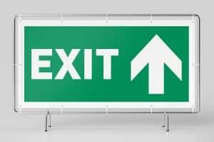 Hinweisbanner - Ausgang / Exit
