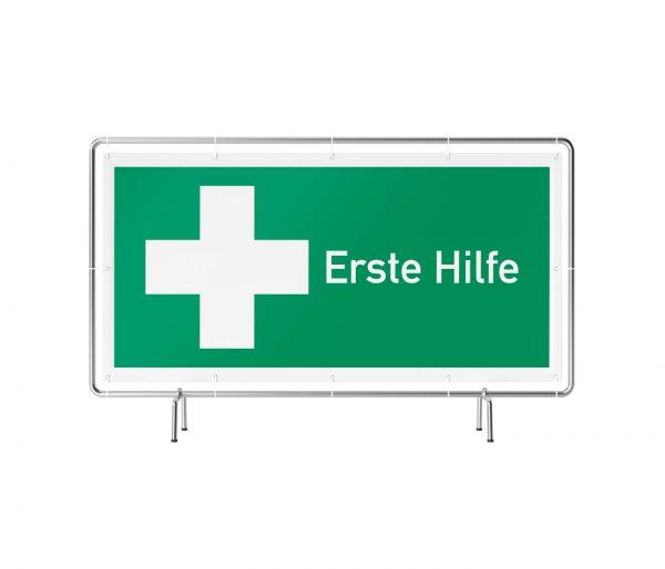 Banner mit Motiv Erste Hilfe in verschiedenen Groeßen fertig gedruckt, frontal