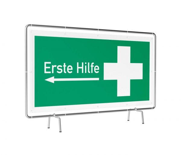 Banner mit Motiv Erste Hilfe links in verschiedenen Groeßen fertig gedruckt, leicht gedreht