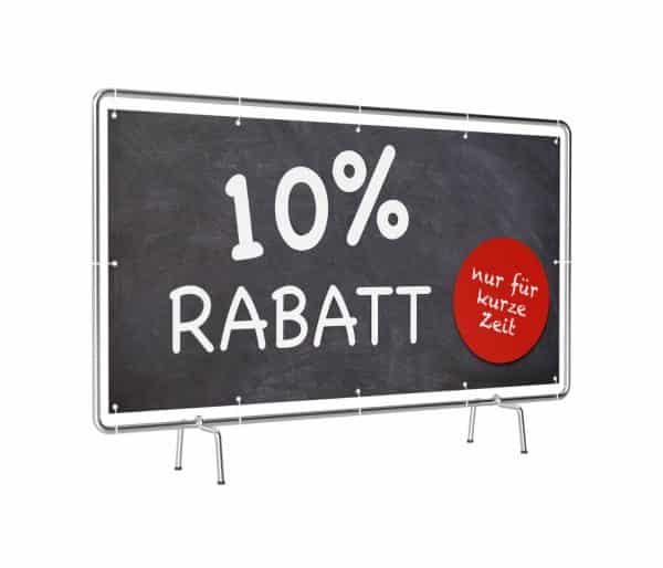 Banner mit Motiv10% Rabatt in verschiedenen Groeßen fertig gedruckt, leicht gedreht