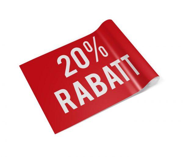 Banner mit Motiv 20 Prozent Rabatt rot in verschiedenen Groeßen fertig gedruckt, gerollt