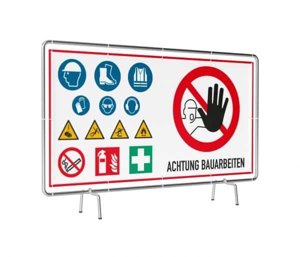 Banner mit Motiv Achtung Bauarbeiten mit Warnhinweisen in verschiedenen Groeßen fertig gedruckt, leicht gedreht