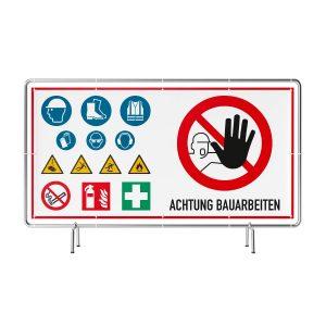 Achtung Bauarbeiten mit Warnzeichen Banner