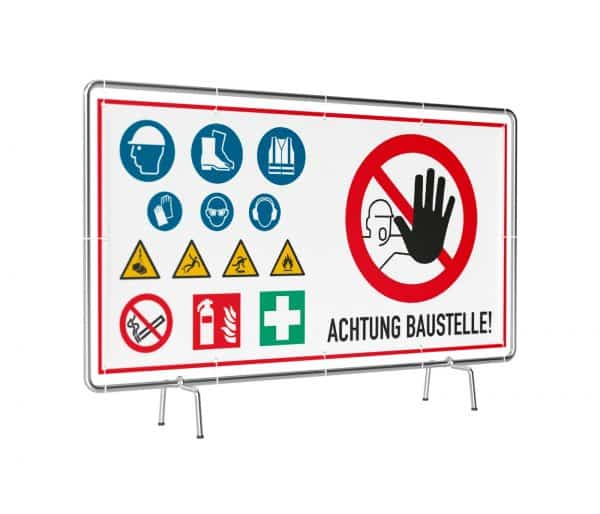 Banner mit Motiv Achtung Baustelle mit Warnhinweisen in verschiedenen Groeßen fertig gedruckt, leicht gedreht