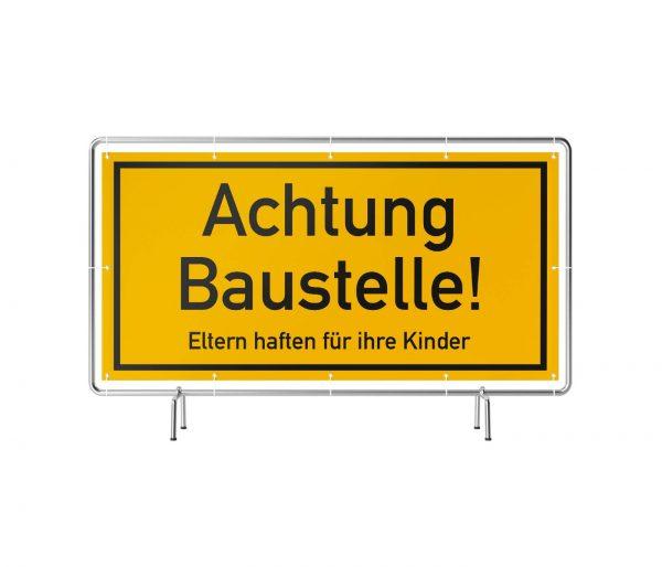 Achtung Baustelle Eltern haften für Kinder Banner
