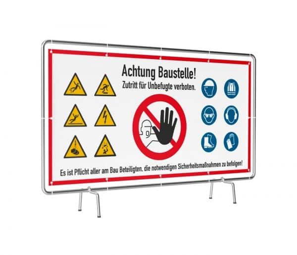 Banner mit Motiv Achtung Baustelle wir arbeiten sicher mit Warnhinweisen in verschiedenen Groeßen fertig gedruckt, leicht gedreht