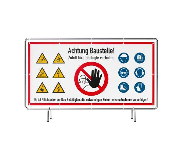Banner mit Motiv Achtung Baustelle wir arbeiten sicher mit Warnhinweisen in verschiedenen Groeßen fertig gedruckt, frontal