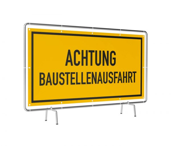 Banner mit Motiv Achtung Baustellenausfahr gelb in verschiedenen Groeßen fertig gedruckt, leicht gedreht
