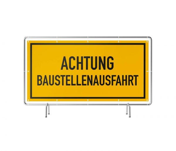 Banner mit Motiv Achtung Baustellenausfahr gelb in verschiedenen Groeßen fertig gedruckt, frontal