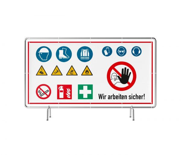 Baustelle - wir arbeiten sicher mit Warnzeichen Banner
