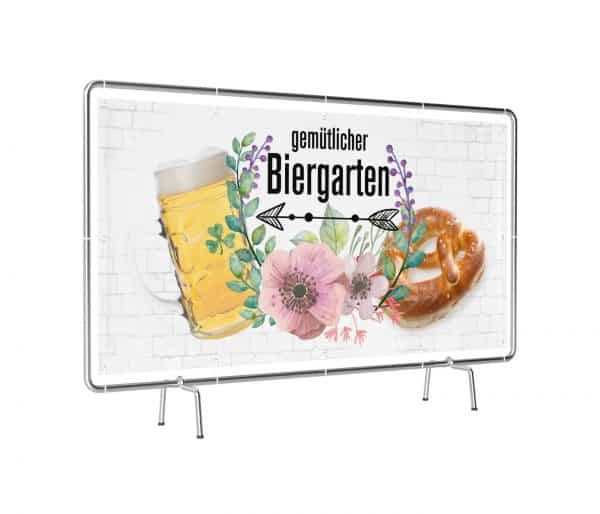 Banner mit Motiv Biergarten links in verschiedenen Groeßen fertig gedruckt, leicht gedreht