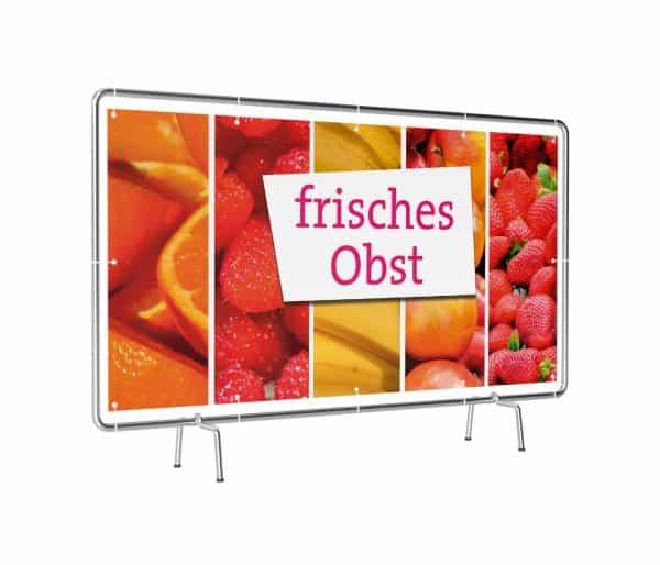 Banner mit Motiv frisches Obst in verschiedenen Groeßen fertig gedruckt, leicht gedreht