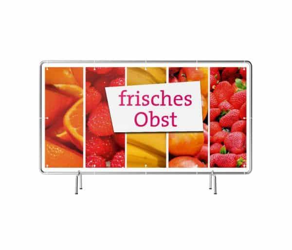 Banner mit Motiv frisches Obst in verschiedenen Groeßen fertig gedruckt, frontal
