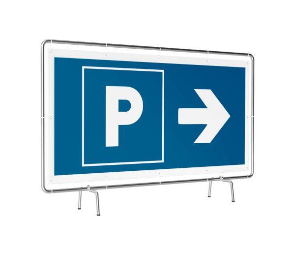 Banner mit Motiv Parken rechts in verschiedenen Groeßen fertig gedruckt, leicht gedreht