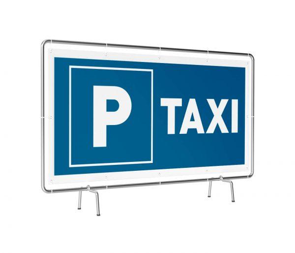 Banner mit Motiv Parkplatz Taxi in verschiedenen Groeßen fertig gedruckt, leicht gedreht