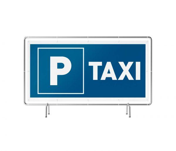 Banner mit Motiv Parkplatz Taxi in verschiedenen Groeßen fertig gedruckt, frontala