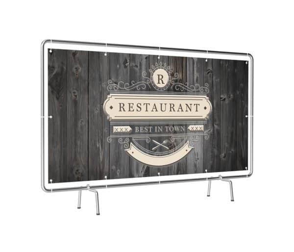Banner mit Motiv Restaurant in verschiedenen Groeßen fertig gedruckt, leicht gedreht