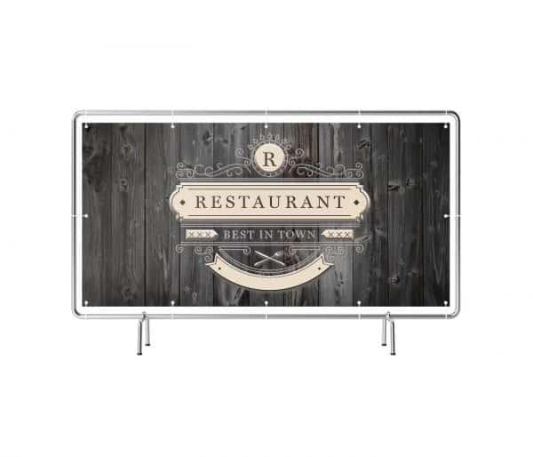 Banner mit Motiv Restaurant in verschiedenen Groeßen fertig gedruckt, frontal