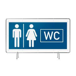 Banner mit Motiv WC m/w neutral in verschiedenen Groeßen fertig gedruckt, frontal