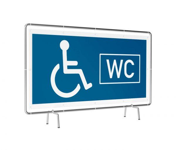 Banner mit Motiv WC behindertengerecht neutral in verschiedenen Groeßen fertig gedruckt, leicht gedreht