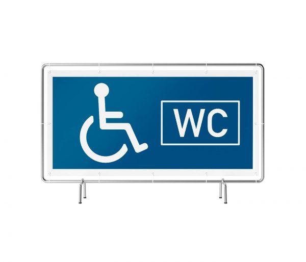 Banner mit Motiv WC behindertengerecht neutral in verschiedenen Groeßen fertig gedruckt, frontal