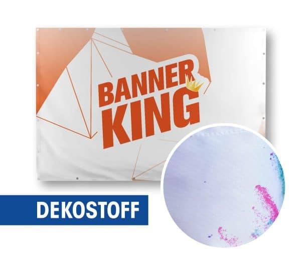 Beispiel eines Softimage Dekostoff 210g Banners auf einen Rahmen befestigt