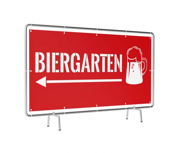 Biergarten links rot