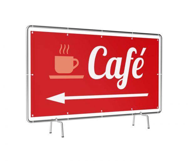 Banner mit Motiv Café links rot leicht gedreht