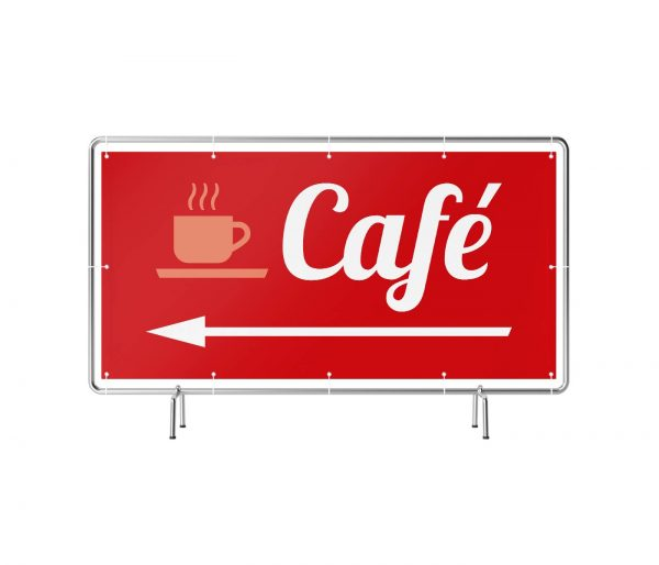 Banner mit Motiv Café links rot