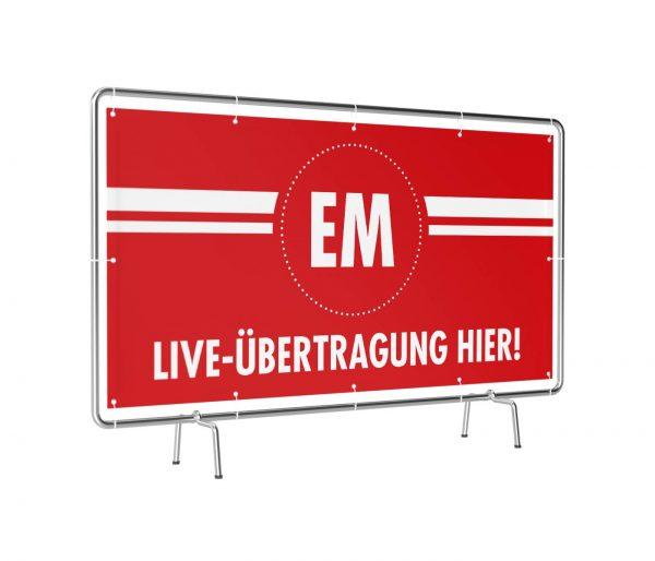 Banner mit Motiv EM-Liveübertragung leicht gedreht