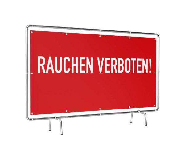 Banner mit Motiv Rauchen Verboten rot bedruckt leicht gedreht