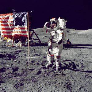 Fahne auf dem Mond