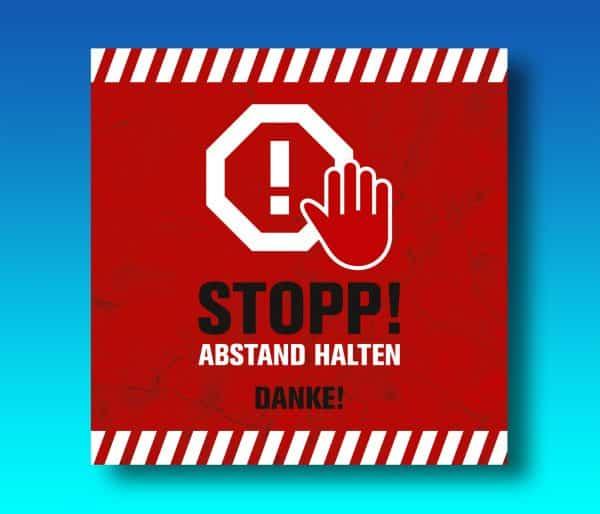 Stop ABSTAND HALTEN! - Danke! Bodenmatte